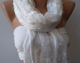 Christmas Gift Holiday Gift Scarf, Shawl, Gifts For Her, Gifts For Women Creamy White Scarf