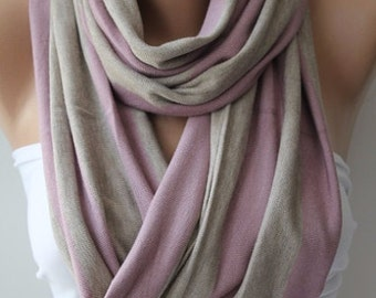 Christmas Gift Holiday Gift Scarf, Shawl, Gifts For Her, Gifts For Women Grey and Pink Infinity Scarf