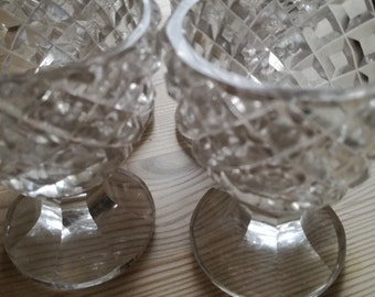 A set of 4 vintage cut glass sparkly egg cups