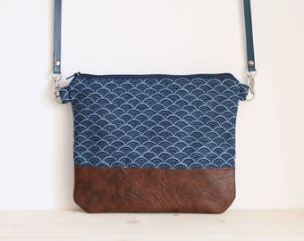 Japanese bag, blue japanese handbag, crossbody bag, blue foldover bag, shoulder bag, clutch bag - Blue Seigaiha
