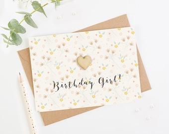 Birthday Girl Card Blush Pastel Floral