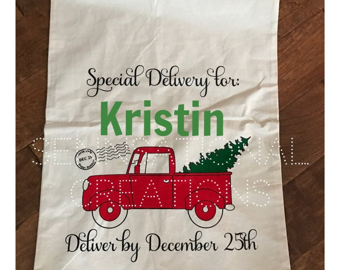 Santa Sack, Present Gift Bag, Santa Bag, Gift Bag, Christmas, Present Bag, Monogrammed Bag, Monogrammed Gift Sack, Gift Sack