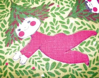 Fallani & Cohn Vintage Linen Christmas Tea Towel Whimsical Elf Tree Hat Chuck Gruen Design