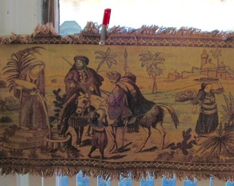 Tapestry Middle Eastern Marketplace Desert Scrne Large Vintage Tapestry with Fringed Edges camels oasis horses palm maidens