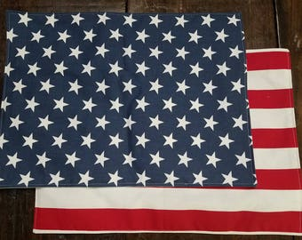 Americana Stars and Stripes Two-Sided Place Mats - Set of 2 or 4