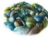Superfine Merino Wool And Mulberry Silk 50/50 Blend Brick Form Destash Hand Dyed Spinning Felting Fiber 79 gm 2,8 oz