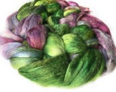 Superfine Merino Wool And Mulberry Silk 50/50 Blend Brick Form Destash Hand Dyed Spinning Felting Fiber 84 gm 3 oz
