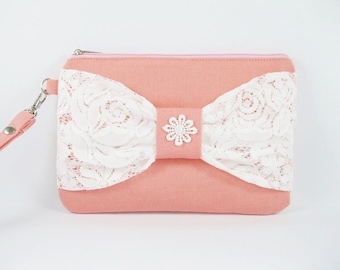 SUPER SALE - Peach with White Lace Bow Clutch - Bridal Clutches, Bridesmaid Wristlet, Wedding Gift - Made To Order