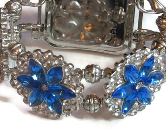 Glitzy Blue and Silver Apple Watch Band - BeadsnTime - Interchangeable Apple Watch Band - Dressy Apple Watch Band - 38mm or 42mm Apple Band