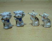 Free shipping! 2 pairs of salt and pepper shakers Japan cats and dogs