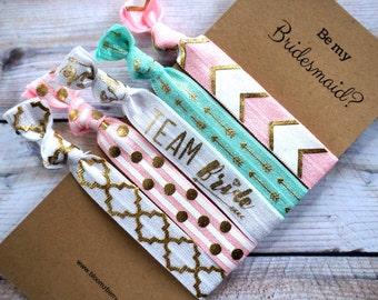 Bridesmaid Gift 5 pcs set - Be My Bridesmaid - Aqua/White/Gold/Pink - Bridesmaid Proposal Gift- Wedding/Bridesmaid/Gift/Bachelorrette Party