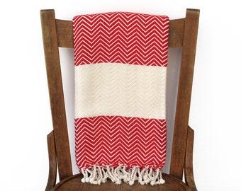 Throw Blanket Peshtemal Couch Throw Sofa Throw Turkish Towel Handwoven Cotton Turkish Bath Towel Spa Fouta Towel Beach Wrap RED CHEVRON LALE