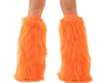 Neon Orange Fluffies  - UV Reactive Furry Leg Warmers - Rave Fluffies - Fuzzy Boot Covers - Long Pile Faux Fur Orange Fluffies