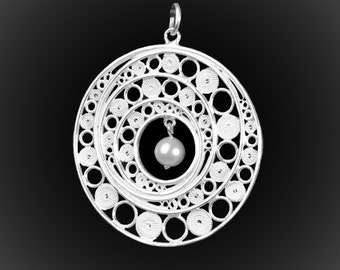 Open Galaxy pendant in silver embroidery