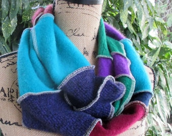 Infinity Scarf - Upcycled Rainbow - Colorful Gift for Her - Wool Scarf - Fall & Winter Accessory - Recycled Sweater Clothing - Circle Loop