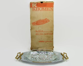 Kromex Relish Server in Original Box, Serving Tray with Early American Prescut Glass Divided Insert, 2 Section Serving Dish