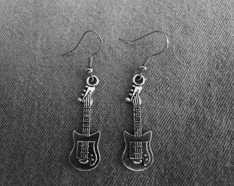Beautiful pair of Silver Earrings with Guitar and Hypoallergenic Surgical Steel Ear Wires