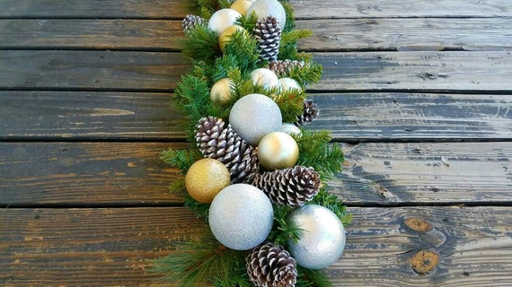 Garland, Christmas Garland, Holiday Garland, Mantel Garland, Fireplace Garland, 9 FT Pine Garland With Pine Cones and Silver/Gold Ornaments