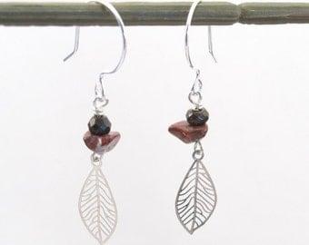 Earrings Poppy jasper- bronzite-laser cut silver leaf charm-unique sterling silver earring findings-French hoop earring-natural stone