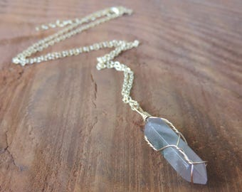 Raw Amethyst Point Necklace, Wire Wrapped Healing Crystal Necklace, Crown Chakra Necklace, Amethyst Crown Chakra