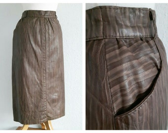 Vintage Brown Genuine Leather Pencil Skirt - Vera Pelle Leather Skirt - 80s Italian Leather
