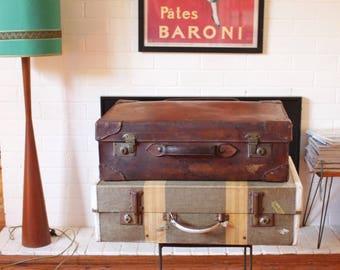 Vintage Striped Suitcase,  Sydney Tweed Suitcase, Photo Prop