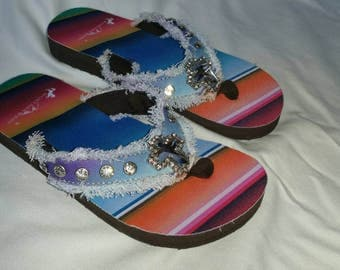 Beachy Flip Flops with Blue, Pink and Purple Tones