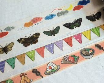 1 Roll Washi Tape (Pick 1): Weather, Butterfly, Colorful Garland, or Sushi and Japanese Food