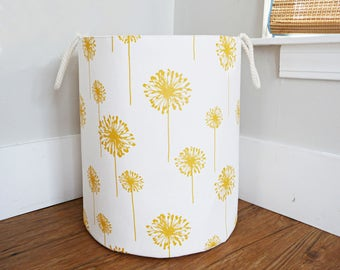 "Extra Large Fabric Storage Hamper, Laundry Basket, White and Corn Yellow Dandelion Fabric Organizer, Toy or Nursery Basket - 20"" Tall"