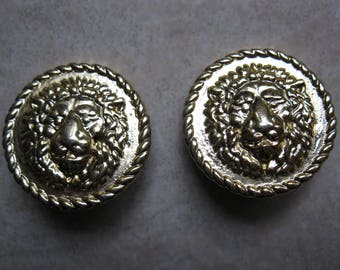 Gianni Versace Gold Tone Earrings Clip-on Lion Head