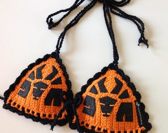 The Die Antwoord Bull Inspired Crochet Bra in Orange or choose your own color combos