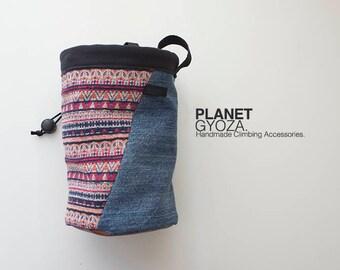 Chalk Bag - Patchwork Denim fabric Boho style cotton fabric / birthday gift