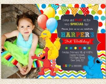 Sesame Street Invitations, Sesame Street Birthday Invitation, Elmo Invitation, Cookie Monster, Big Bird, DIY printables