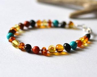 amber coral turquoise bracelet, amber bracelet, amber jewelry, summer bracelet