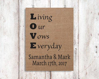 Personalized Burlap Signs - Gifts For Him - Gifts For Her - Anniversary Gift- Burlap Home Decor