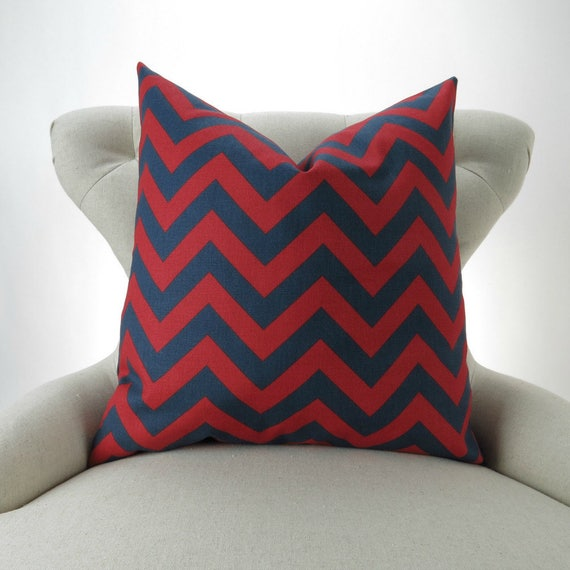 navy red throw pillow cover many sizes euro sham cushion. Black Bedroom Furniture Sets. Home Design Ideas