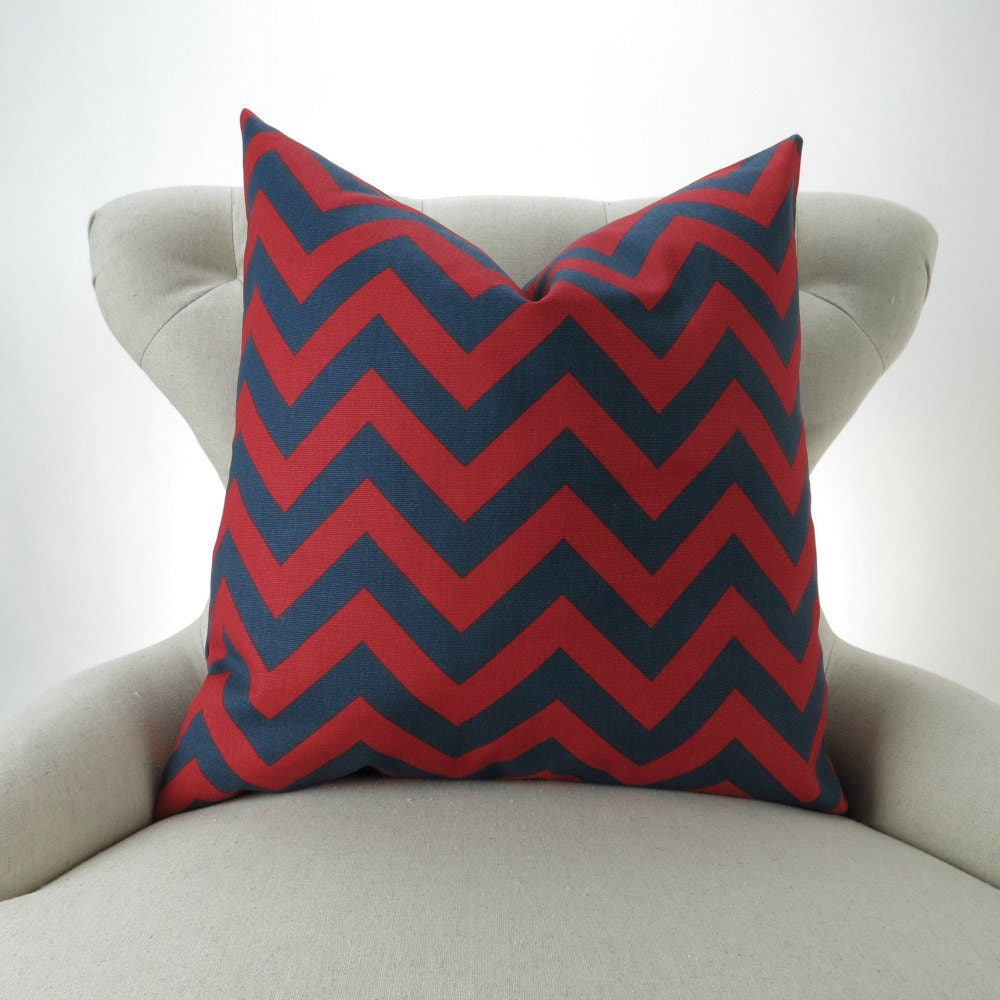 Navy/Red Throw Pillow Cover MANY SIZES Euro Sham Cushion