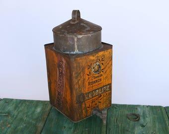 Vintage Italian 'Oleoblitz' motor oil tin