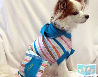 Dog Hoodies-Sweaters Custom Sizes xxsmall - Xlarge Turquoise Blue Multi colors stripes print Soft cotton jersey