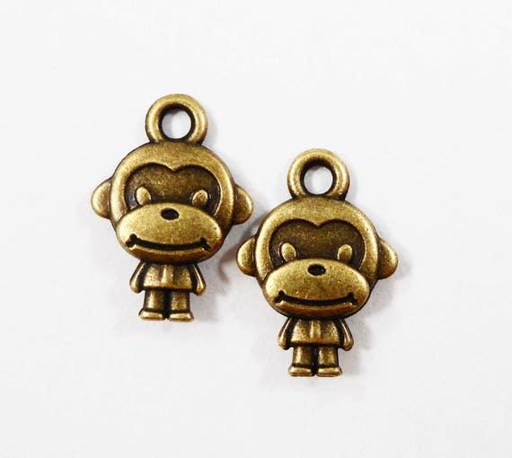 Bronze Monkey Charms 10x15mm Sock Monkey Charms, Antique Brass Monkey Charms, Bronze Monkey Pendants, Metal Charms, Animal Charms, 10pcs