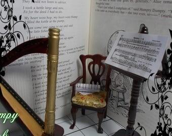 "1/12th dollhouse miniature ""Music room items"" Harp, chair, music stand"
