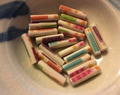 """Birthday Candles Hand Rolled Paper Tube Beads 1"""": Set of 20"""