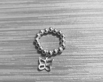 Sterling Silver Stack Ring - Mid Ring, Butterfly Ring, Open Star Ring, Charm Ring, Sterling Silver, Bead Ring, Modern Ring, Stack Jewellery