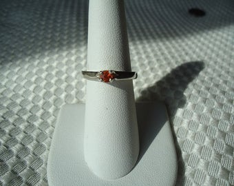 Round Cut Orange Sapphire Ring in Sterling Silver   #1972