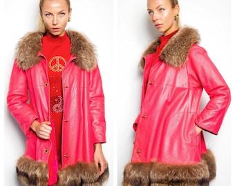 S.U.P.E.R S.A.L.E. was 1000 now 700 super rare vintage 60s BONNIE CASHIN for SILLS pink leather fur trim jacket coat