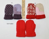 Custom Order for Chris  - 6 pair of Toddler/Childrens Sweater Mittens - Upcycled Wool Mittens -