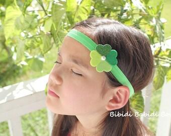 St Patrick's day headband/ hair clip- Shamrock headband- Baby girl headband- Toddler headband- Infant headband- Hair accessory- Photo prop-