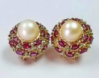 925 Silver Fashion Earrings, Golden South Sea Pearls, Peridot and Oval Shape Rhodolites