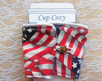 American Flag  Print Patriotic Americana Coffee Cozy Tea Cozy