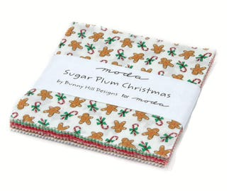 "Moda-Sugar Plum Christmas Charm Pack by Bunny Hill Designs Pre~Cut 5"" x 5"" Squares"